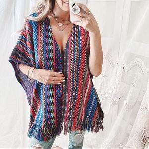 Colorful Tribal Aztec Print Poncho - One Size